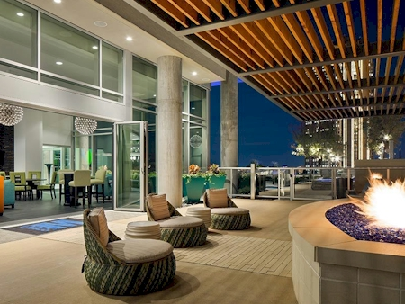 Skyline Cabana Lounge with fire pit