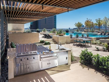Grilling area at pool