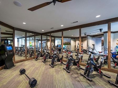 Fitness center has spin equipment