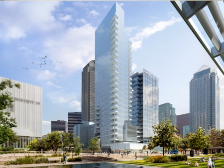 Artist rendering of completed building opposite Wyly Theatre